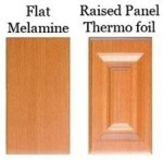 Flat melamine and raised panel thermo-foil cabinet door styles