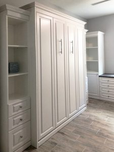 Miller's Murphy Bed & Home Office: bed cabinet with flanking bookshelf cabinets