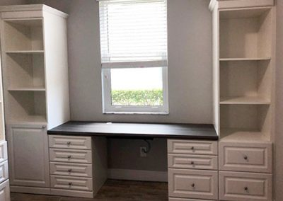Home Office Desk in front of Window with Two Tall Cabinets