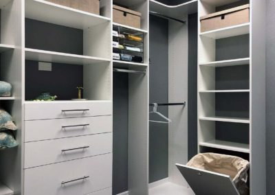 Closet System with Hamper, clothes racks, shelves and drawers