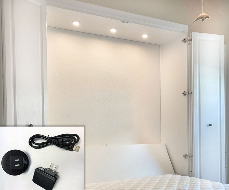 Murphy Bed with LED Cabinet Lights and USB Charging Stations